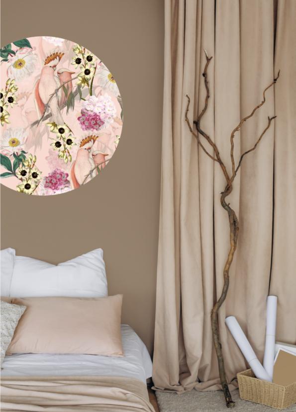 Pastel Pink Cockatoo muurcirkel in slaapkamer Dutch Sprinkles