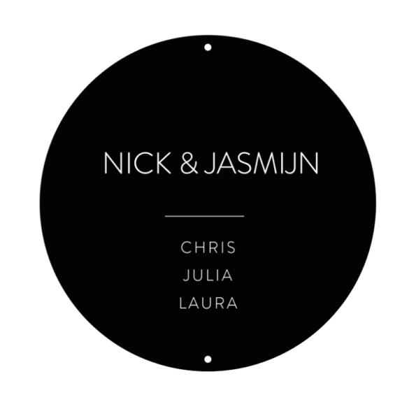 Outdoor muurcirkel naambord No Number zwart | Dutch Sprinkles