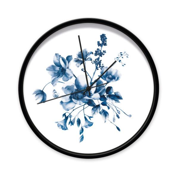 Klok Studio Amke Delfts blauwe bloemen zwart frame