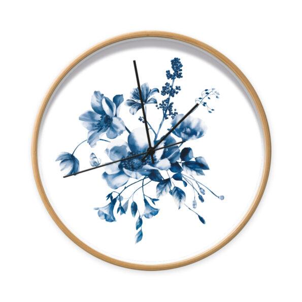Klok Studio Amke Delfts Blauwe bloemen houtlook frame