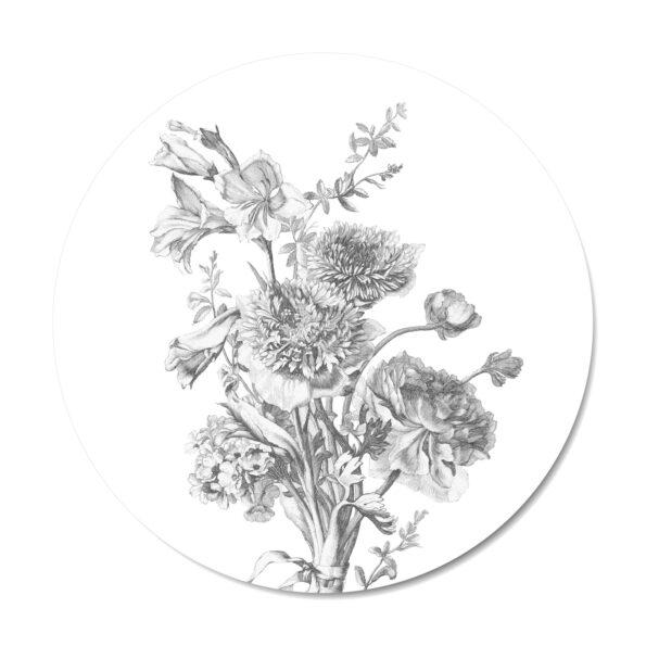 Muurcirkel Flowers in Black and White | Dutch Sprinkles