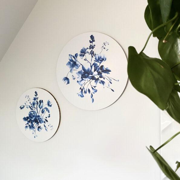 Dutch Sprinkles muurcirkels Delfts blauwe bloemen Studio Amke op karton