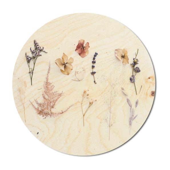 Muurcirkel Droogbloemen op hout | Dutch Sprinkles