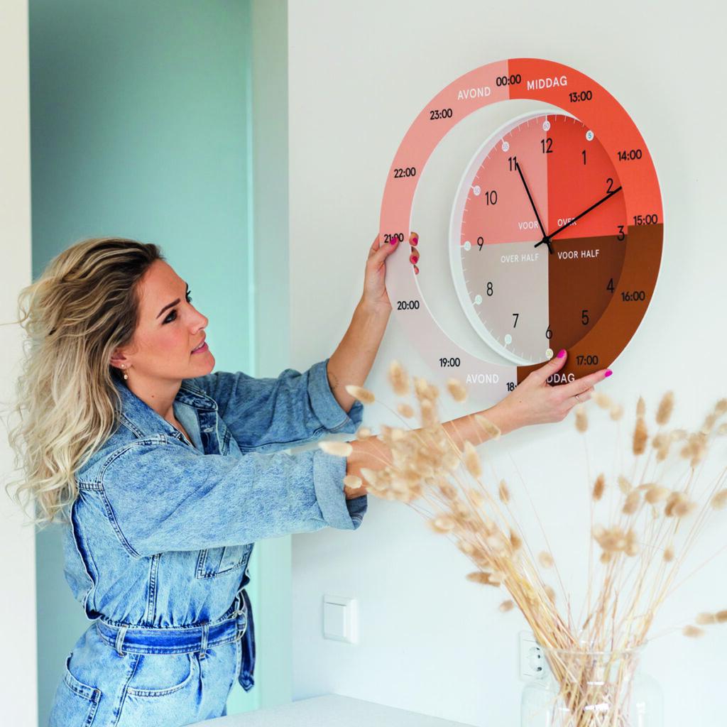Hippe leerklok Dutch Sprinkles met losse ring voor digitale tijden