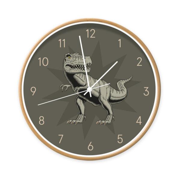 Klok T-rex hout/wit - Dutch Sprinkles