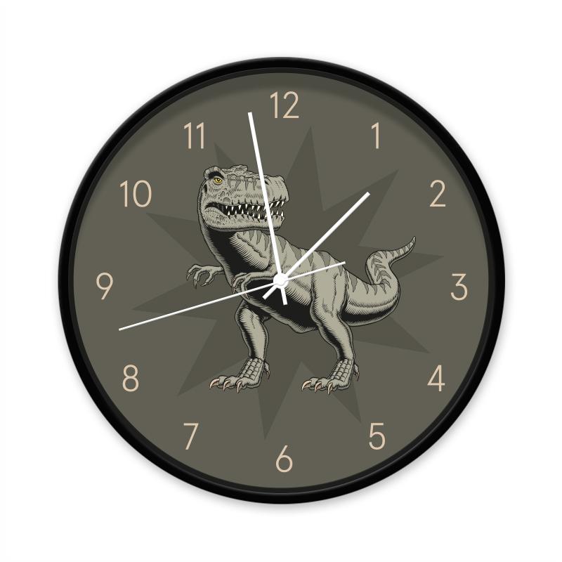 Klok T-rex zwart/wit