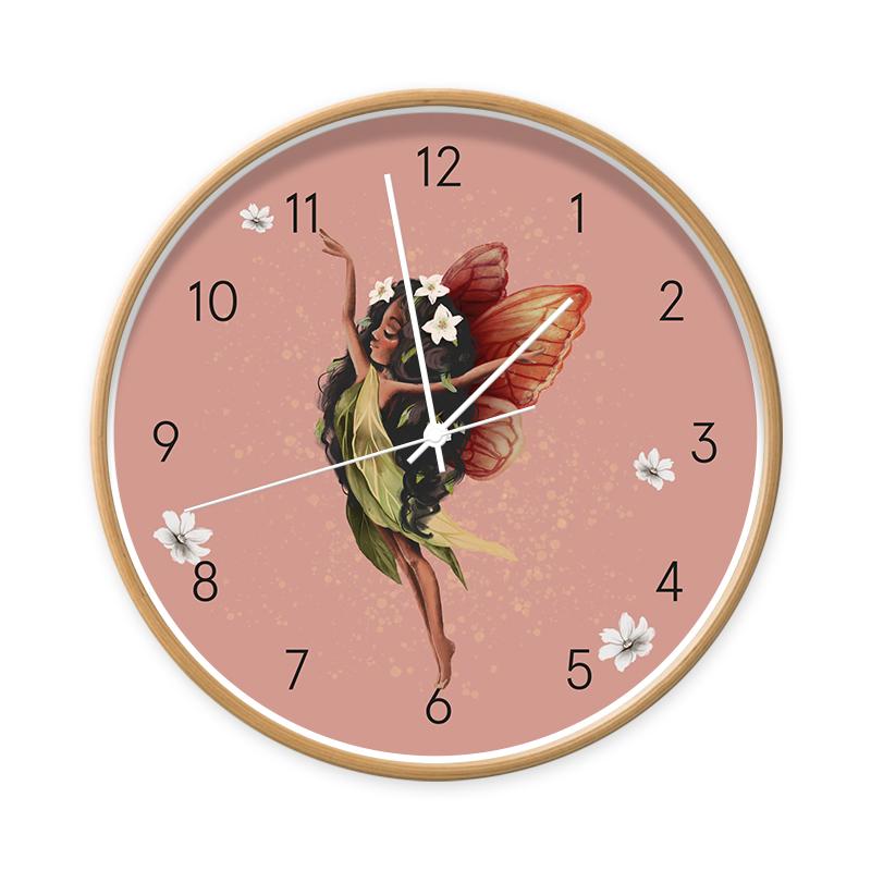 Klok Fairy Melody hout/wit