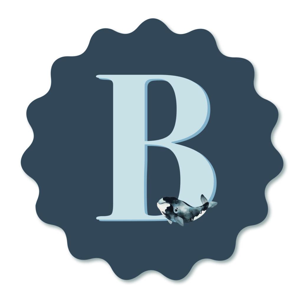 Muurbloempje Sealife Blue Letter van Dutch Sprinkles