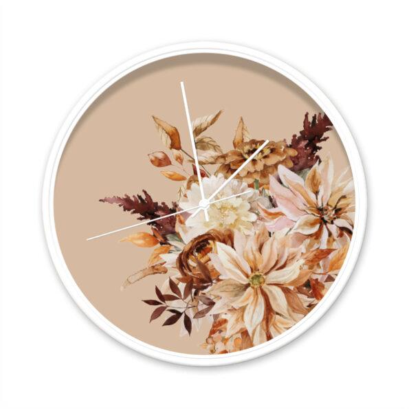 Klok Indian summer Flowers wit frame witte wijzers- Dutch Sprinkles