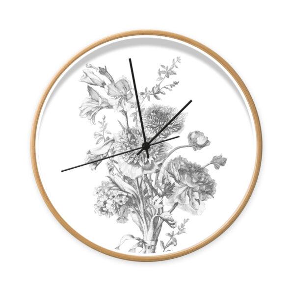 Klok Flowers in Black & White met houtlook frame en zwarte wijzers - Dutch Sprinkles